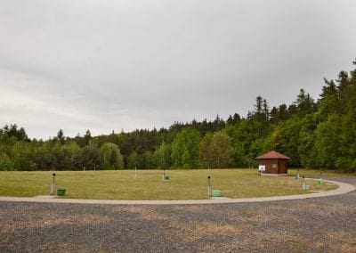 Areal of skeet shooting range during cloudy day.