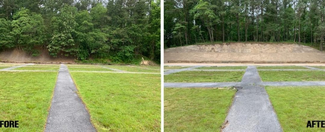 Before-After Photos of the Services for the Lead Reclamation Process at an Outdoor Gun Range